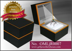 China Black and orange paper Musical Jewellery Boxes, music lighted ring box and engagement ring presentation box on sale