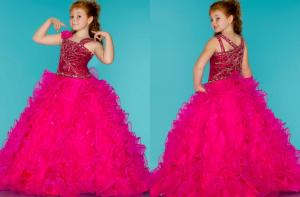 China Rose Spaghetti Little Girl Pageant Dresses / Grils Long Party Dress With Beads on sale