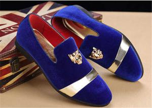 China Men'S Velvet Loafer Shoes With Personality Tiger Head Gold Buckle Red Bottom Shoes on sale