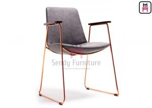 China Rose Gold Armrest Stainless Steel Restaurant Chairs With Antique Leather Covered on sale