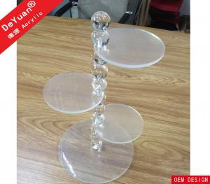 China Crystal Bubble Rod Plexiglass Cake Clear Plastic Display Stands 4 Tiers on sale