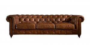 China 100 Percent Genuine Three Seater Leather Sofa Solid Wood Frame For Living Room on sale