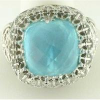 stainless steel casting ring with aquamarine gem LRX21