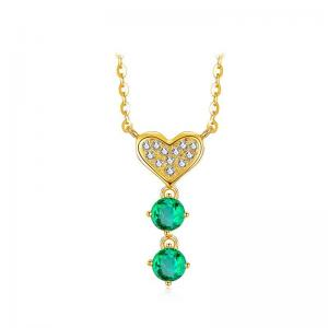 China 18K Gold Chain Emerald Gemstone Jewelry Lover Pendant Necklace 16 Inches Length on sale