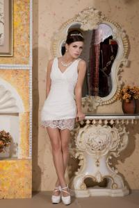 China Fashion 2013 Lace Ivory Plus Size Cocktail Party Dresses , V Neck A Line Design on sale