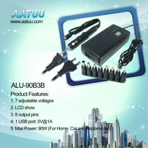 China 90W 4 in 1 Universal Notebook Charger with USB, for Home Car and Airplane Use ALU-90B3B on sale