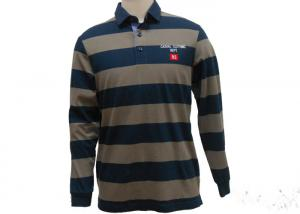 China Colorful Mens Long Sleeve Striped Polo Shirts , 2 Piece Collar Mens Knitted Polo Tops on sale