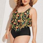 2019 New Plus Size Two piece High Waist   Woman's swimwear Push up