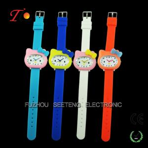 China Colorful and cute hello kitty design for  children watch with all safety silicone material on sale