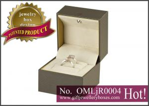 China Grey carboard and cream velvet Musical Jewellery Boxes and designer music engagement ring box with light on sale