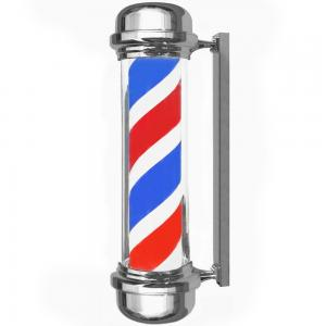 China Hair Salon Shop Revolving Barber Pole Red White 110 Volts Stainless Steel Base on sale