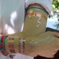 China OEM Fake Flash Gold Foil Body Hand Sticker Custom Metallic Temporary Tattoo on sale