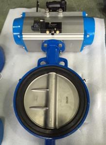 China DN65 Soft Seal Centerline Butterfly Valves Wafer Type With Pneumatic Actuator on sale