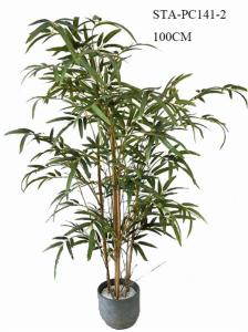China CE Artificial Decorative Trees , Artificial Bamboo Tree Lush Vibrant Leaves Real Bamboo Stems on sale