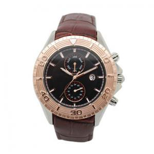 China Men's Dual Time Multifunction Wrist Watch With Leather Band Luxury on sale