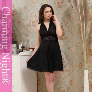 China Black Erotic Transparent Adult Women sexy night dresses , long black lingerie on sale