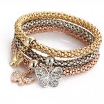 Gold silver plated brass bangle with butterfly /key lock/star/ancor charms