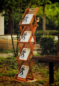 China bamboo literature rack model 3,indoor banner stands , made of bamboo, Graphic size :4*A4 on sale