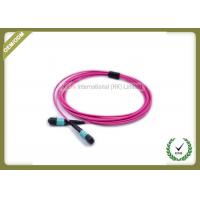 China MTP TO MTP OM4 12Core Fiber Trunk Cable Patch Cord Violet color on sale