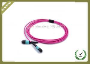 China MTP TO MTP OM4 12 Core Fiber Optic Patch Cord Violet Color Multimode LSZH Jacket on sale