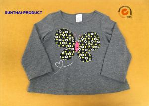 China A Line Shape Children T Shirt Heather Gray Embroidered Baby Girl Long Sleeve T Shirts on sale