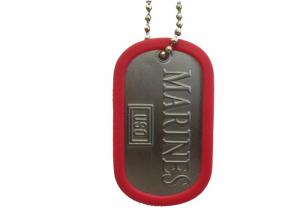 China Iron, Brass, Copper Marines Dog Tag, Aluminum Stamped Personalized Dog ID Tags With Silicon Silencer on sale