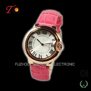 China colorful leather band and unique design golden case for ladies watch on sale