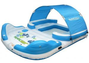 China Huge Lake Funny Inflatable Water Toys 4 / 6 / 8 Person Floating Blow Up Island Customized on sale