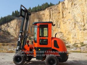 China 3 tons Rough Terrain Forklift Truck CPCY30 ,All Terrain Forklift 4WD Forklift with Air condition, with diesel engine on sale