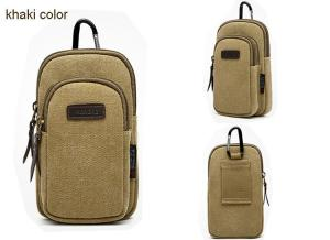 China Male wear belt multi-function vertical hanging canvas Mobile phone bag on sale