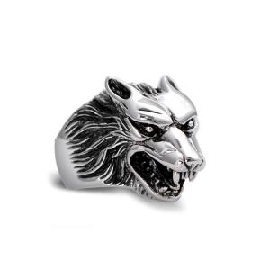 China Men's Thailand Sterling Silver Vintage Wolf 925 Silver Ring (R6030807) on sale