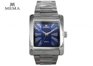 China Classic Square Blue Face Watch , Mens Designer Square Face Watches Good Gloss on sale