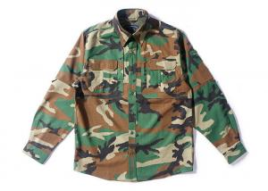 China Woodland Camo Tactical Combat Shirt With Hidden Pencil Pockets Long Sleeve on sale