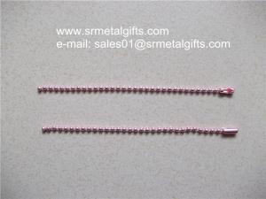 China Colourful anodization steel bead chain lanyard with coupling supplier on sale