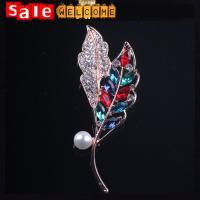 Golden Rhinestone Long Leaf Brooch ,Multi Color Crystal Rhinestone Maple Leaf Brooch Pin