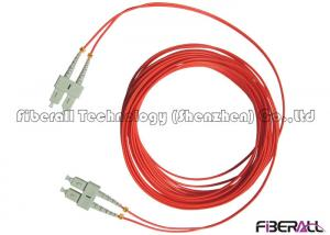China Red Jacket Fibre Optic Patch Leads , Multimode Fiber Optic Cable With SC MM Connector on sale
