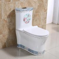 Hotel ceramic western blue decal one piece toilet with soft cover