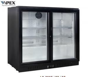China 2X2 Shelf 210L Back Bar Beer Cooler Display Refrigerator Double Swing Glass Door on sale