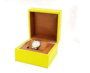 China High Glossy Yellow Jewelry Wooden Box With Small Pillow Glossy Painting on sale