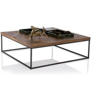 China Tabelas e mesas de centro industriais de extremidade da madeira maciça do estilo com quadro do ferro on sale