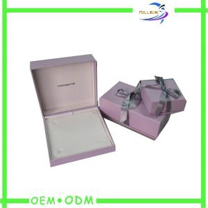 China Rectangle Custom Logo Stamped Pink Jewelry Storage Boxes With Ribbon on sale