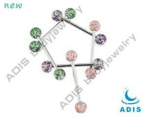 China UV Glitter Ball 316l Tongue Piercing Jewelry / Tongue Barbell For Men on sale