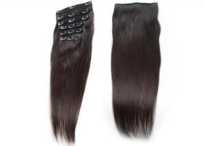 China Lustrous Elegant Clip In Natural Hair Extensions Customized Color For Black Women on sale