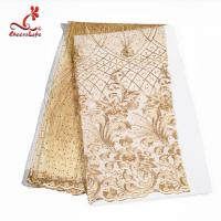 Multi Colored Beaded Lace Fabric Embroidered Lace Fabric For Indian Sarees