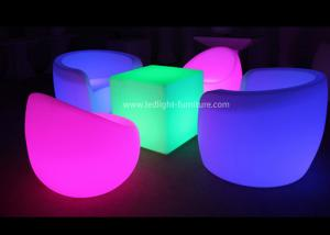 China Outdoor Waterproof Single LED Light SofaFurniture Set With Glow Cube Table on sale