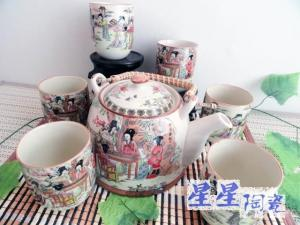 China Custom Colorful Ceramic Teapot Set , Authentic Chinese Traditional Tea Set on sale