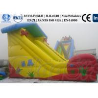 Yellow Inflatable Water Slides for Kids , Bouncy Games Powerful Air blower