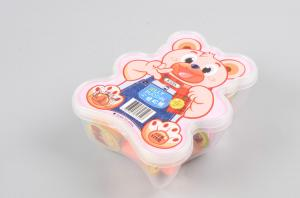 China Bear Shape Custom Printed Plastic Boxes Eye Catching Design Ribbon Handle on sale
