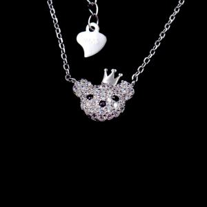 China Cute Japanese Style Panda Shape 925 Silver AAA Zircon Birthday Present Necklace on sale