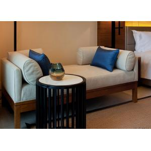 China Ivory Color Relax Fabric Upholstered Wooden Bench Seat With Hardwood Frame on sale